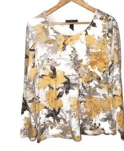 Floral Long Sleeve Cotton Blend Top